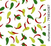 pattern with red spicy pepper...   Shutterstock .eps vector #793834387