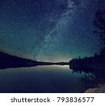 lake at night with amazing... | Shutterstock . vector #793836577
