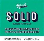 'solid' vintage 3d sans serif... | Shutterstock .eps vector #793840417