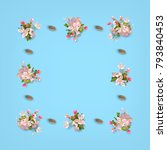 floral top view background.... | Shutterstock .eps vector #793840453