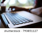 man working by using a laptop... | Shutterstock . vector #793851127
