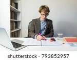 young male student works with... | Shutterstock . vector #793852957