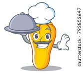 chef with food cashew mascot... | Shutterstock .eps vector #793853647