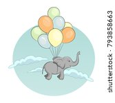 elephant flying with balloons... | Shutterstock .eps vector #793858663
