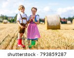 two kids in traditional... | Shutterstock . vector #793859287