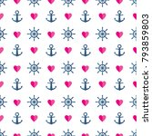 seamless marine pattern with... | Shutterstock .eps vector #793859803