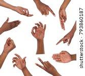 black mans hands gestures and... | Shutterstock . vector #793860187