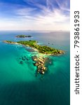 Small photo of Small tropical island in the ocean. Royalty high quality free stock image aerial view of Gam Ghi island in Phu Quoc, Kien Giang, Vietnam