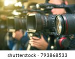 close up of the camera lens on... | Shutterstock . vector #793868533