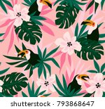 Floral Background With Tropica...