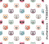 seamless pattern with cat faces | Shutterstock .eps vector #793883497