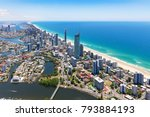 sunny aerial view of surfers... | Shutterstock . vector #793884193