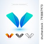 vector abstract letter w or v... | Shutterstock .eps vector #793887973