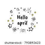 hello spring vector cartoon... | Shutterstock .eps vector #793892623
