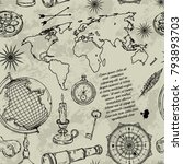 seamless pattern with globe ... | Shutterstock .eps vector #793893703
