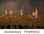 burning candles on melted wax... | Shutterstock . vector #793894813
