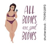 happy plus size girl with... | Shutterstock .eps vector #793901893