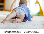 little cute baby girl learning... | Shutterstock . vector #793903063