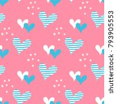 hand drawn hearts and dots... | Shutterstock .eps vector #793905553