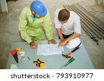 architects in the construction... | Shutterstock . vector #793910977