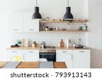 modern new light interior of... | Shutterstock . vector #793913143