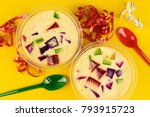 colorful gelatin over yellow... | Shutterstock . vector #793915723