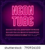 bright neon alphabet letters ... | Shutterstock .eps vector #793926103