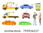 evacuation of the car after the ... | Shutterstock .eps vector #793926217