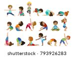 little girls doing yoga set | Shutterstock .eps vector #793926283