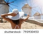 tourist woman with white hat... | Shutterstock . vector #793930453