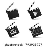 realistic clapper.cinema.board... | Shutterstock .eps vector #793935727