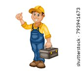 cartoon handy man. cheerful... | Shutterstock .eps vector #793941673