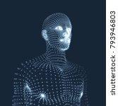 man in a thinker pose. 3d model ... | Shutterstock .eps vector #793946803