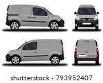 realistic cargo van. front view ... | Shutterstock .eps vector #793952407