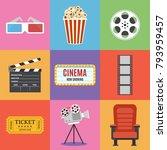 Movie Icons. Flat Style....
