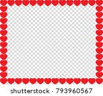 cute red hearts border with... | Shutterstock .eps vector #793960567
