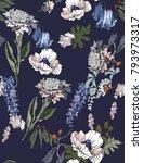 seamless hand drawn flowers... | Shutterstock . vector #793973317