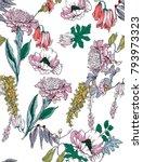 seamless hand drawn flowers... | Shutterstock . vector #793973323