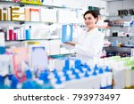 adult is showing right drug in... | Shutterstock . vector #793973497