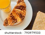fresh croissant on a ceramic... | Shutterstock . vector #793979533