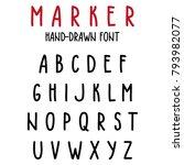 hand drawn alphabet to make... | Shutterstock .eps vector #793982077