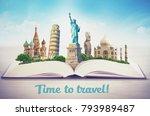 famous landmarks of the world... | Shutterstock . vector #793989487