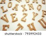 wooden english alphabet on... | Shutterstock . vector #793992433