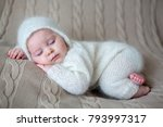 beatiful baby boy in white... | Shutterstock . vector #793997317