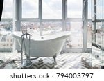 white bathroom with beautiful...   Shutterstock . vector #794003797