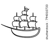 ship   vector icon without  fill | Shutterstock .eps vector #794010733
