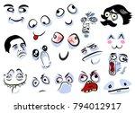 huge set with crazy cartoon... | Shutterstock .eps vector #794012917