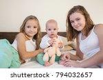 three sisters baby girl... | Shutterstock . vector #794032657