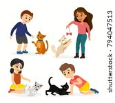 Stock vector vector illustration set of children and cats happy funny kids playing love and taking care of 794047513