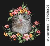 Little Cat With Floral Crown...